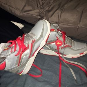 Reebok pump size 11 grey white and red color way